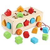 DalosDream Wooden Shape Sorter Educational Preschool Toddler Toys - Classic Push Pull Truck Recognition Color Geometry Learning Toys for Kids 1,2,3,4,5 Years Old Boys and Grils Gift Idea (Shape)
