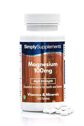 Magnesio 100 mg - 360 compresse - Adatto ai vegani - 1 anno di trattamento - SimplySupplements