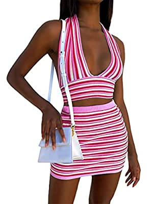Material: Women halter neck dress sets is made by knit fabric, stretchy and soft, comfortable to wear, sexy summer outfits. Features:Tie back knit striped cross halter neck top+ dress outfits, summer short dress suits, sleevless cutout crop top, high...