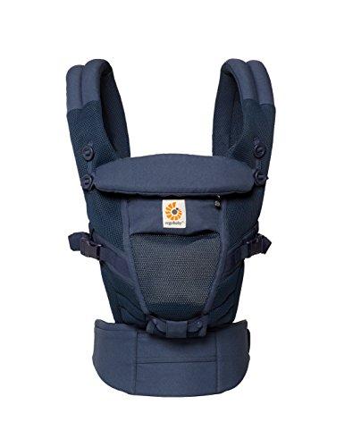 ERGObaby Babytrage für Neugeborene (3.2 bis 20kg) Adapt Cool Air Mesh Deep Blue, Ergonomische Babytragetasche, Bauchtrage und Rückentrage, blau