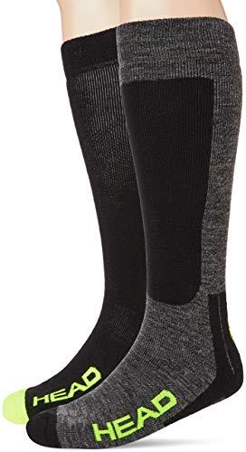 Head Kneehigh Ski Socks (2 Pack) Calze da Sci, Nero/Grigio/Giallo, 43/46 (Pacco da 2) Unisex-Adulto