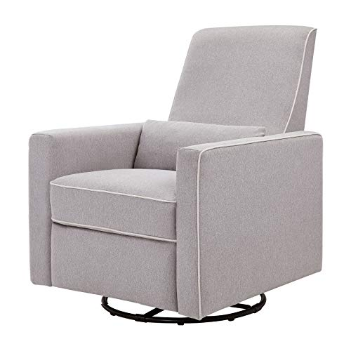 DaVinci Piper Upholstered Recliner and Swivel Glider in Grey with Cream Piping, Greenguard Gold Certified