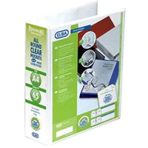 Emgee Presentazione Lever Arch File clear Cover Tasche a 2anelli, dorso 70mm, A4, bianco, 560350[Confezione da 5]