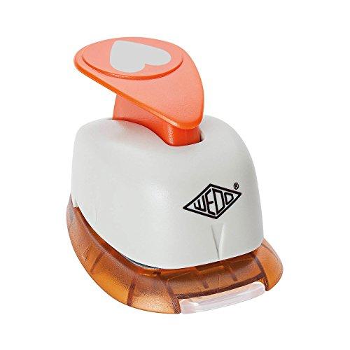Wedo 168101 Motivlocher klein Herz (mit praktischem Auffangbehälter, Ausstanzung 1,6 x 1,3 cm) grau / orange