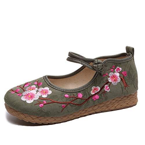 Alpargatas para Mujer Estilo Chino Hecho a Mano con Flores Bordadas Zapatillas de Ballet Zapatos de Plataforma Informales Ligeros para Caminar para Mujer