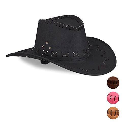 Relaxdays Cowboyhut Fasching, Westernhut, für Erwachsene, im Westernstyle, Karneval, mit Kopfband, Faschingshut, schwarz