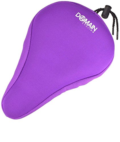 Domain Cycling Premium Purple Thick Bike Gel Seat Cushion Cover 10.5'x7' Most Comfortable Bicycle Saddle Pad for Spin Class or Outdoor Biking