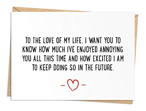 Funny Birthday, Anniversary, or Valentine's Day Card -for Husband, Wife, Boyfriend, or Girlfriend