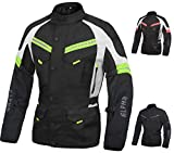 ACG ADVENTURE MOTORCYCLE JACKET MEN FOR TOURING CE ARMOR WATERPROOF ALL SEASON BIKER RIDING (BLACK/HI VIS GREEN, MEDIUM)