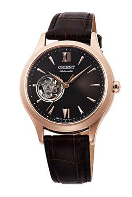 Orient Ladies Elegant Collection Open Heart Rose Gold Watch with Brown Dial RA-AG0023Y
