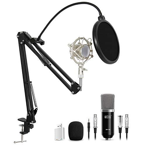TONOR XLR zu 3,5 mm Kondensator Mikrofon Kit Schall Podcast Studio Rundfunk & Aufnahme Microphone für Computer mit Popschutz und Verstellbarem Mikrofonhalter Schwarz