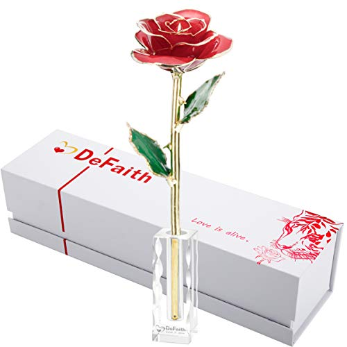 DEFAITH 24k Gold Dipped Rose with Crystal Stand, Great Gifts for Her Wife Mother Valentine's Day (Red - Wave Crystal Stand)