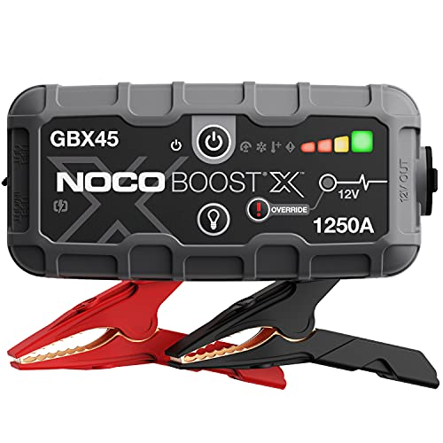 NOCO Boost X GBX45 1250A 12V UltraSafe Portable Lithium Jump Starter, Car Battery Booster Pack, USB-C Powerbank Charger, and Jumper Cables for Up to 6.5 Gas and 4.0-Liter Diesel Engines, Gray