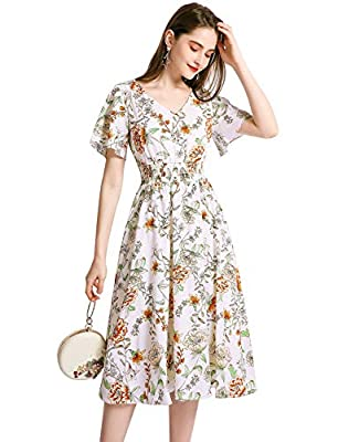 Fabric:Floral chiffon,it's lightweight and flowing material,which feels great.And it's very comfortable to wear for hot weather. Feature: Unique fashion tailoring to make each one distinctive features, puffy short sleeve, v neck, loose fit, trendy an...