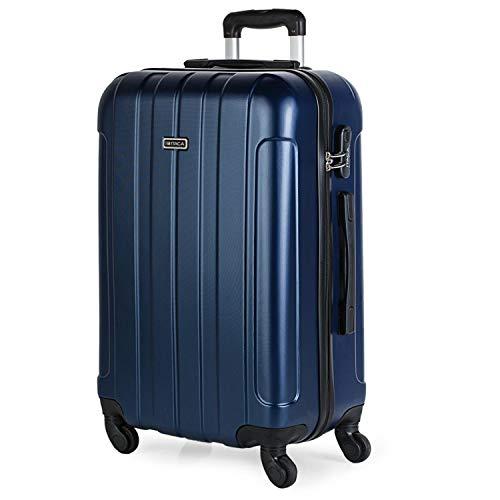 ITACA - Travel Case Rigid 4 ruote trolley 65 cm medio ABS. Resistente e leggero Maniglia, 2 maniglie e lucchetto. Studenti e professionisti 771160, Color Marino