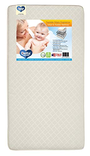 Delta Children Twinkle Stars Supreme Innerspring Crib and Toddler Mattress   Waterproof   GREENGUARD Gold Certified   Trusted 50 Year Warranty   Made In the USA