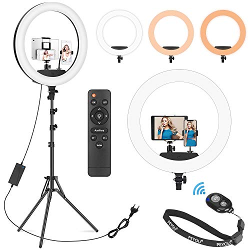 """[2021 Newest Version] PEYOU 12' Selfie Ring Light with 50"""" Tripod Stand & Tablet Phone Holder, Multifunctional LED Ring Light Tripod Stand for Makeup/Photography/Live Stream/Video Recording"""