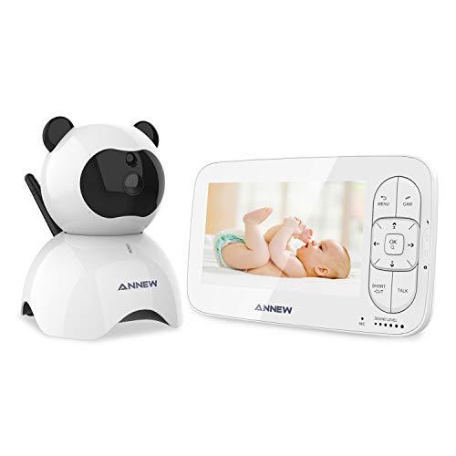 ANNEW Baby Monitor 5' LCD Wireless Digitale Videocamera Audio Bidirezionale Babyphone Visione Notturna Monitoraggio della Temperatura Ninnananne 2 vie Citofono Sistema Espandibile a 4 telecamere