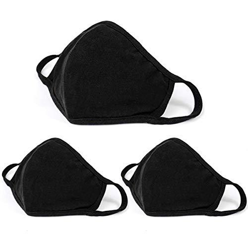 Aooba 3 Pcs Fashion Protective Face Masks, Unisex Black Dust Cotton Mouth Masks, Washable, Reusable Masks