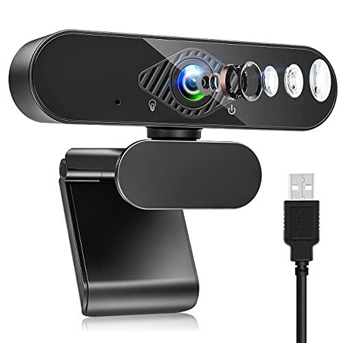 Teaisiy Webcam per PC, Webcam con Microfono HD 1080P 30PFS Pu Essere Fisso per Videochiamate, Studio, Conferenza, Registrazione e Lavoro, Video Camera USB 2.0 per Desktop, Laptop, Smart TV (Nero1)