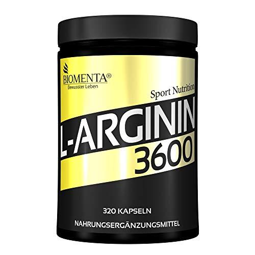 BIOMENTA L-Arginin 3600 – Aktionspreis - 320 L-Arginin Kapseln hochdosiert – 3.652 mg Arginin Aminosäure pro Tag - reines L-Arginin ohne Magnesiumstearat