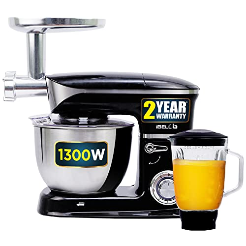 iBELL 6650S 1300Watts Multi-Function Electric Food Stand Mixer/Juicer/Meat Grinder Tilt Head 6.5...