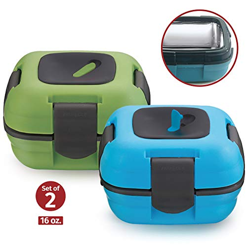 Lunch Box ~ Pinnacle Insulated Leak Proof Lunch Box for Adults and Kids - Thermal Lunch Container With NEW Heat Release Valve 16 oz ~Set of 2~ Blue-Green