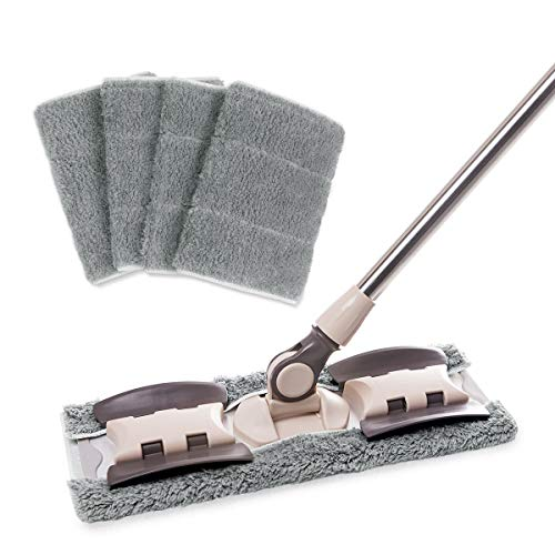 MAYSHINE Microfiber Hardwood Floor Mop - 5 Washable & Reusable Flat Mops Cloths/Pads, for Wet or Dry Floor Cleaning