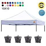 ABCCANOPY Pop Up Canopy Replacement Top Cover 100% Waterproof Choose 18+ Colors, Bonus 4 x Weight Bags (White)