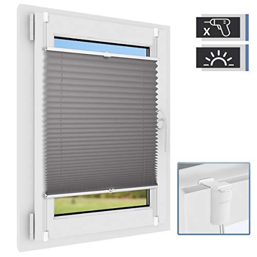 BelleMax Plissee klemmfix Rollos für Fenster ohne Bohren Sonnenschutz Easyfix klemmträger verspannt 40x130 cm(BxH) Anthrazit