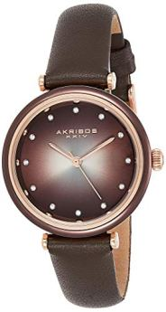 Akribos XXIV Leather Women's Watch – Genuine Swarovski Crystal Markers on Two Tone Gradient Dial Sunray Dial – Elegant Brown Skinny Strap – AK1035BR