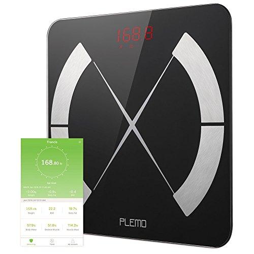 Bluetooth Body Fat Scale, PLEMO Smart Body Composition Scale, Body Weight Scale, Smart BMI Scale Digital Bathroom Weight Scale, Body Composition Analyzer with Smartphone App