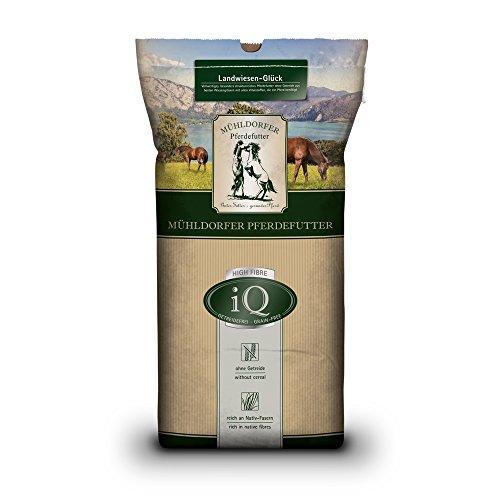 Mühldorfer iQ Landwiesen-Glück, 12,5 kg, getreidefreies Pferdefutter, ohne Melasse, strukturreich, vollwertiges Pferdefutter, für alle Pferde und Ponys