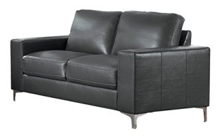 Homelegance Track Arm Sofa with Metal Accent Leg Leather Gel Match, Grey