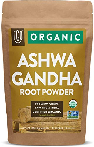 Organic Ashwagandha Root Powder | 16oz Resealable Kraft Bag (1lb) | 100% Raw from India | by FGO