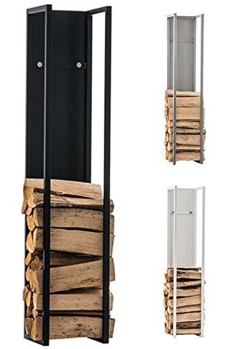 CLP Kaminholzregal Spark I Brennholzregal aus Edelstahl I Holzbutler in verschiedenen Größen und Farben erhältlich Schwarz matt, 25 x 25 x 180 cm