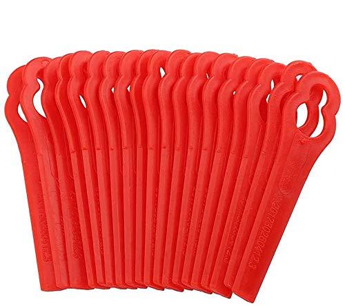 Lames en Plastique de Rechange pour Coupe-Bordures, ZoneYan 100 Lames de Coupe en Plastique de Remplacement, Tondeuse à Gazon en Plastique Lames, Lames de Grass Trimmer Brush Cutter, Rouge