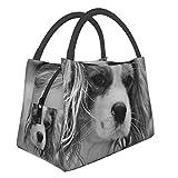 Bolsa de almuerzo para mascotas con animales de perro blanco y negro, bolsa de almuerzo aislada, bolsa refrigeradora, caja de almuerzo