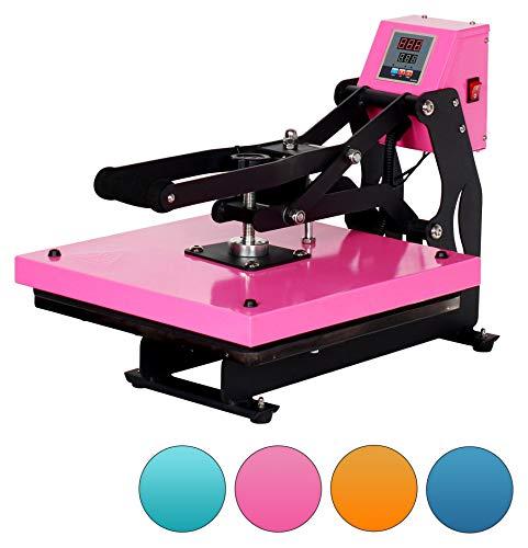 RICOO T438M-LP Transferpresse mit Öffnungsautmatik Textilpresse Textildruckpresse Klappbar Thermopresse Transferdruck Bügelpresse Textil T-Shirtpresse Sublimationspresse/Rosa Pink