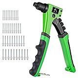 AUTAZON Rivet Gun, Single Hand Manual Rivet Gun Kit with 4 Rivet Heads, 4 in 1 Rivet Tools with 40pcs Rivets