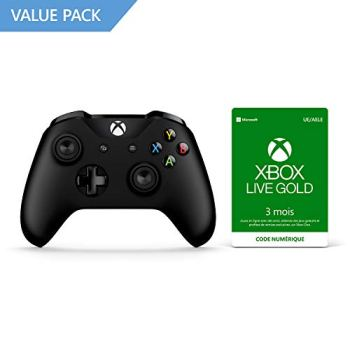 Microsoft Manette Noire sans fil + Xbox Live Gold 3 Mois
