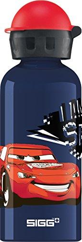 SIGG Cars Speed Cantimplora infantil (0.4 L), botella de aluminio sin sustancias nocivas y con tapa hermética, preciosa cantimplora para niños