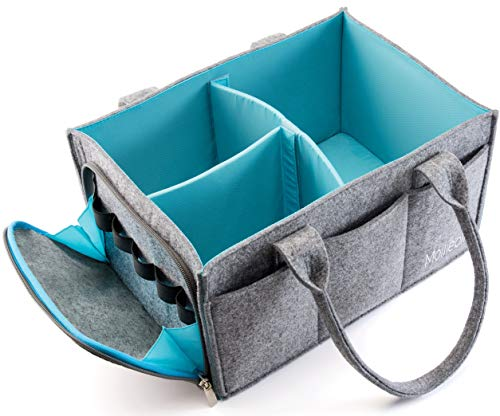 Mollieollie Premium Baby Diaper Caddy Organizer   Portable Nursery Storage Bin   Planner Caddy   Car Seat Tote with Zipper Pocket & 5mm Heavy Duty Felt