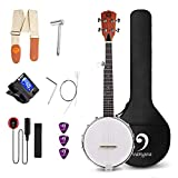 Vangoa 5 String Banjo MINI, Closed Solid Back with...