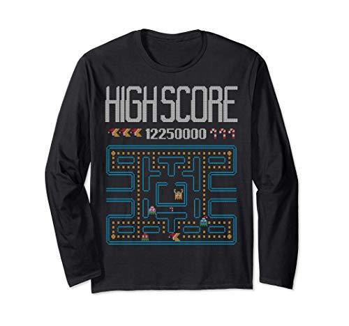 Highscore Retro Arcade Video Gamer Ugly Christmas Sweater Long Sleeve T-Shirt