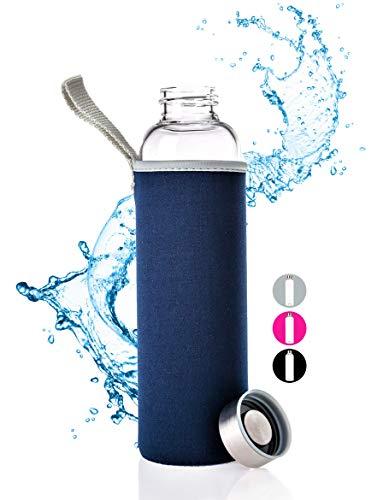 PaWa Glasflasche - 550ml Trinkflasche - Wasserflasche mit Neopren Schutz (Blau)