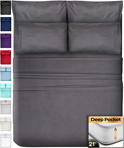 6 Piece King Size Sheets Extra Deep Pockets - Extra Deep Pocket King Sheets Deep Pocket King Bed Sheets King Sheet Set Bedding Sets King Size Bed Sheets King Size Bedding Set King Fitted Sheet Gray
