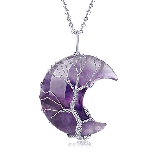 XIANNVXI Healing Crystal Stone Amethyst Necklaces Crescent...
