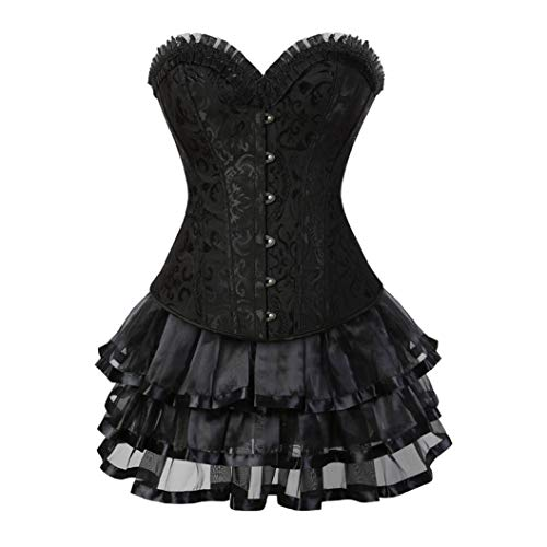 JOYOTER Women's Overbust Steampunk Bustier Dress Floral Lace Trim Steel Boned Corsets Top with Skirt