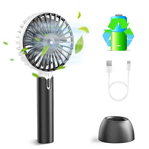 Enllonish Handventilator Elektrischer USB Ventilator Tragbarer Mini Lüfter mit 2600mAh Leise 3 Windgeschwindigkeit für Outdoor, Reisen und Home Laptop Multi-Port-Socket Kompatibel - Schwarz